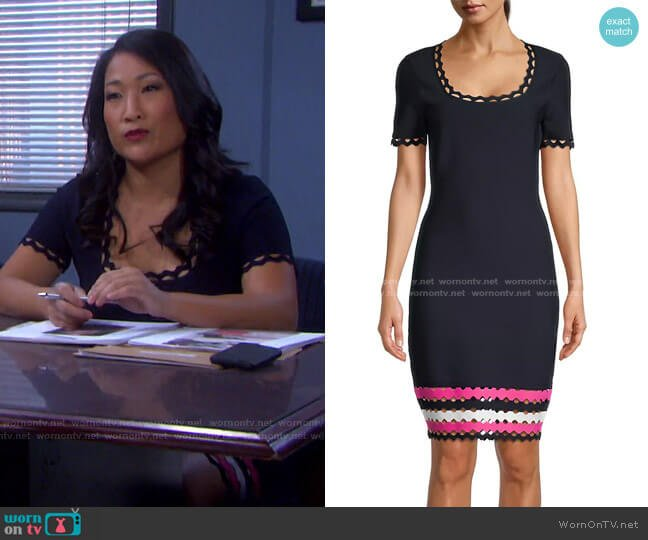 Geo Cut-Out Fitted Dress by Milly worn by Melinda Trask (Tina Huang) on Days of our Lives