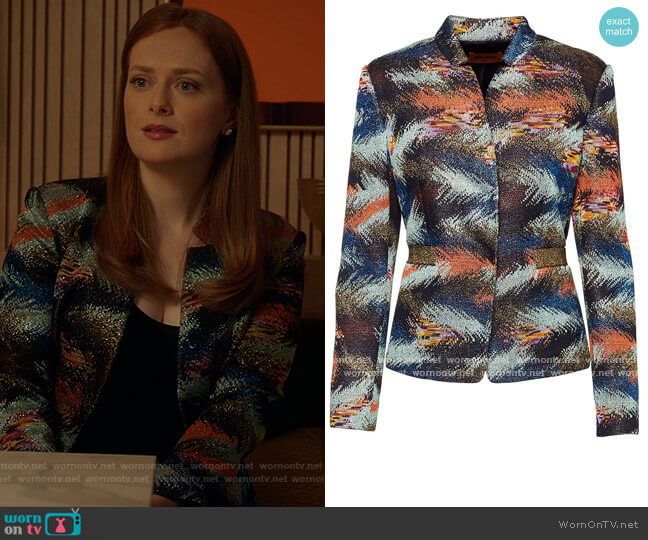 Feather Metallic Jacket by Missoni worn by Alex Paxton-Beesley on The Bold Type
