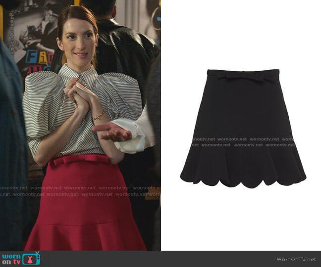 Faille Cady Scalloped Hem Skirt by Miu Miu worn by Lauren (Molly Bernard) on Younger