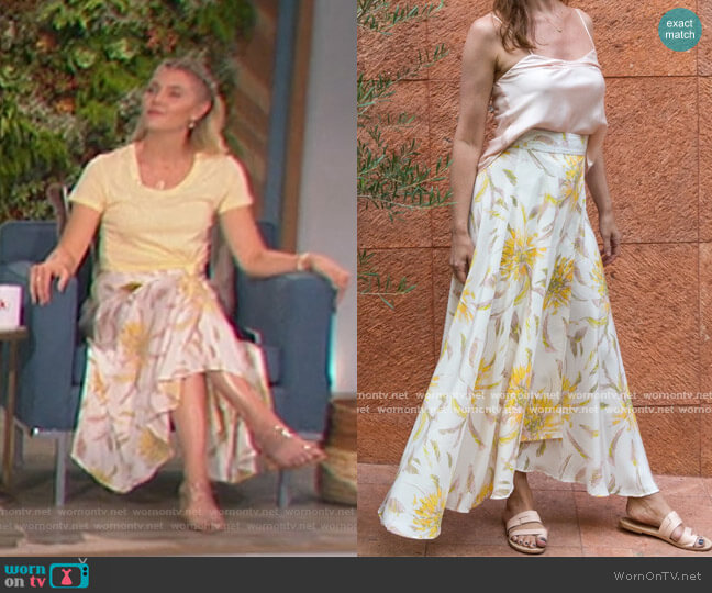 Imani Wrap Silk Skirt by Molly Pepper worn by Amanda Kloots  on The Talk