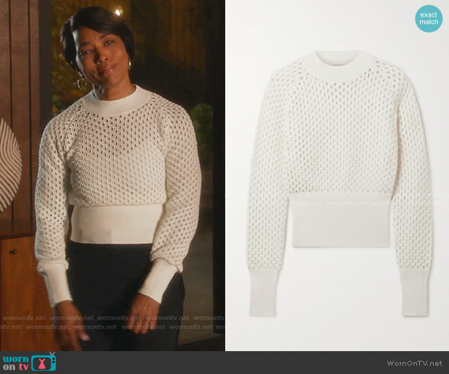 Open-Knit Cotton Sweater by Moncler worn by Athena Grant (Angela Bassett) on 9-1-1