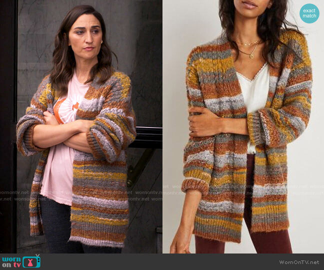 Monfry Colorful Sweater Coat worn by Dawn Solano (Sara Bareilles) on Girls5eva