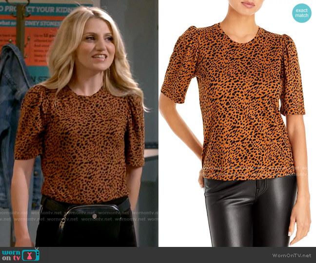 Monrow Leopard Print Puff Sleeve Tee worn by Gina Dabrowski (Annaleigh Ashford) on B Positive