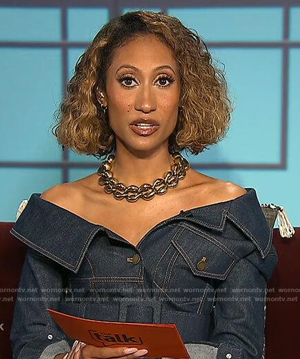 Elaine's denim off shoulder dress on The Talk