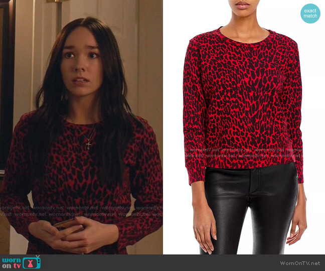 The Koozie Cotton Printed Sweatshirt by Mother worn by Angelina Meyer (Holly Taylor ) on Manifest