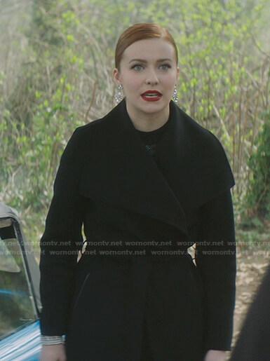 Nancy's black wrap coat on Nancy Drew