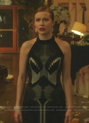Nancy's black knit halter neck dress on Nancy Drew