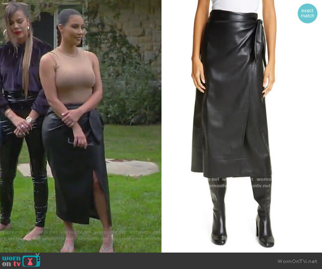 Amas Vegan Leather Wrap Skirt by Nanushka worn by Kim Kardashian  on Keeping Up with the Kardashians