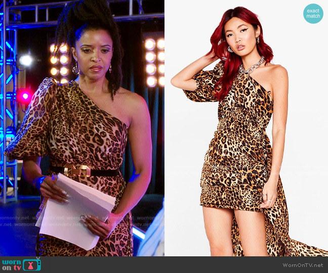 Nasty Gal Leopard One Shoulder Train Detail Dress worn by Wickie Roy (Renée Elise Goldsberry) on Girls5eva