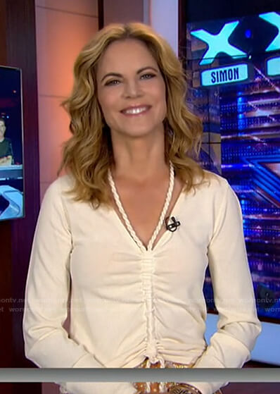 Natalie's white ruched top on Today