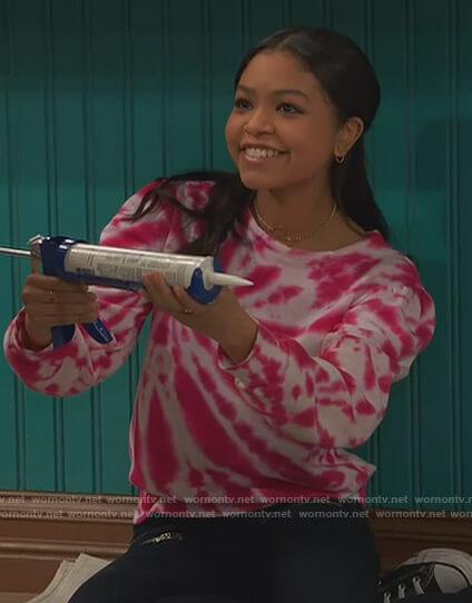 Nia's pink tie dye sweatshirt on Ravens Home