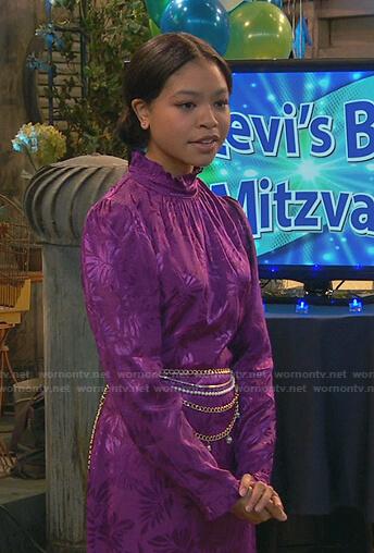 Nia's purple leaf print dress on Ravens Home