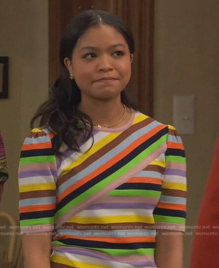 Nia's stripe knit top on Ravens Home