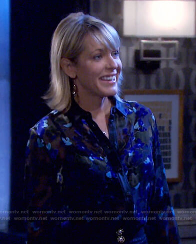 Nicole's burnout floral blouse on Days of our Lives