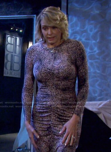 Nicole's leopard ruched jersey dress on Days of our Lives