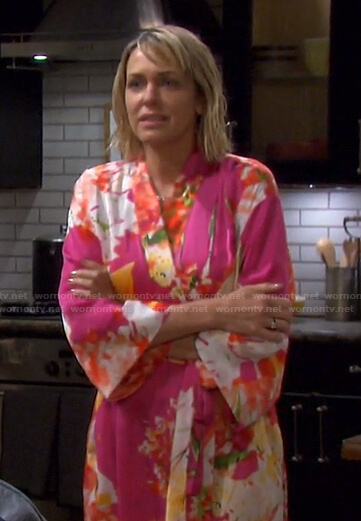 Nicole's pink floral robe on Days of our Lives