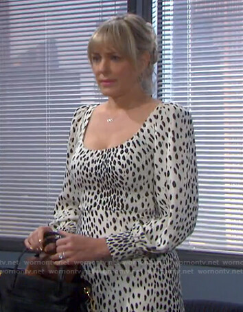 Nicole's white leopard scoop neck dress on Days of our Lives