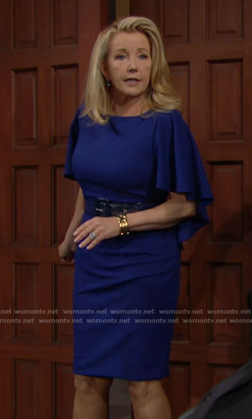 Nikki's blue cape sleeve dress on The Young and the Restless