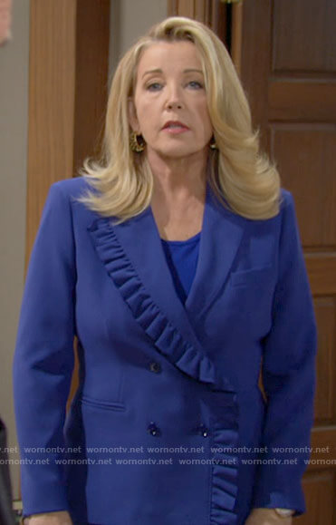 Nikki's blue ruffled trim blazer on The Young and the Restless