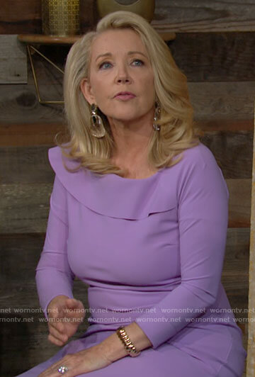 Nikki's purple ruffled midi dress on The Young and the Restless