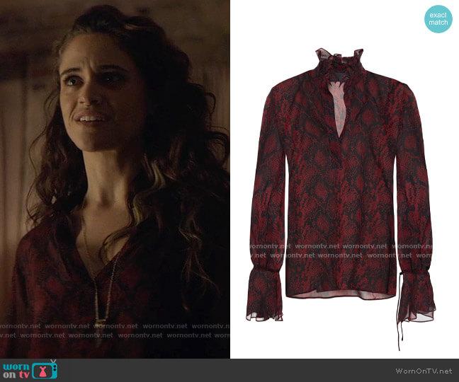 Nili Lotan Demi ruffle-trimmed snake-print silk-chiffon blouse worn by Angelique on Batwoman