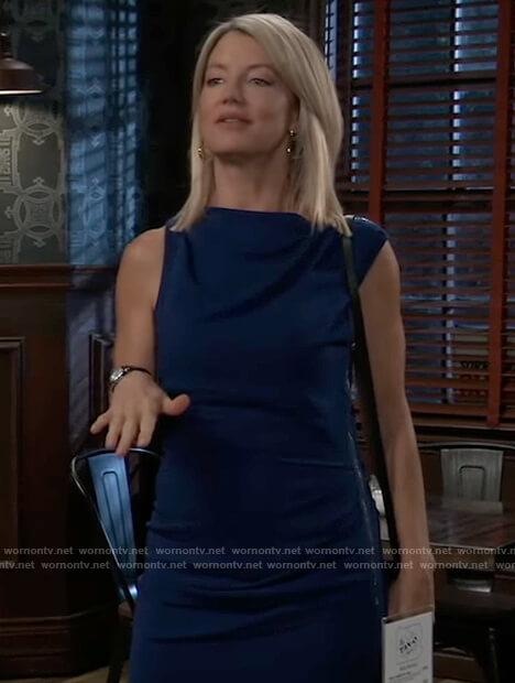 Nina's blue drape neck mini dress on General Hospital