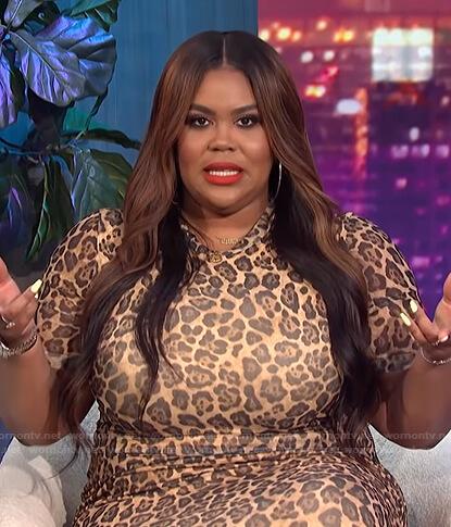 Nina's leopard dress on E! News Nightly Pop