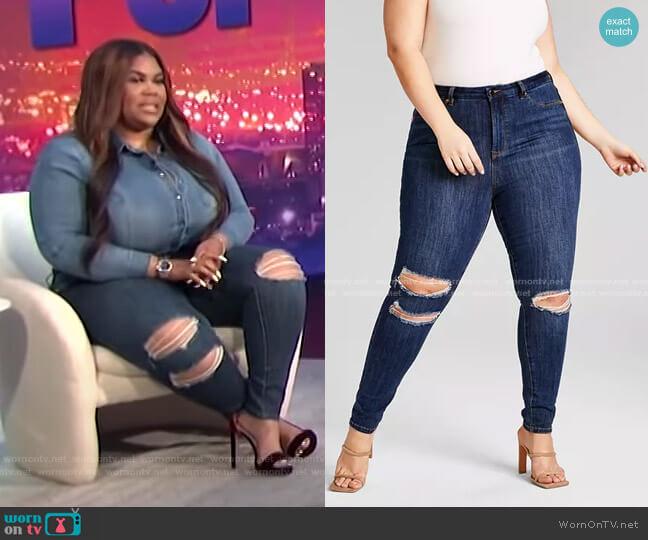 Trendy Plus Size High-Waisted Skinny Jeans by Nina Parker worn by Nina Parker  on E! News