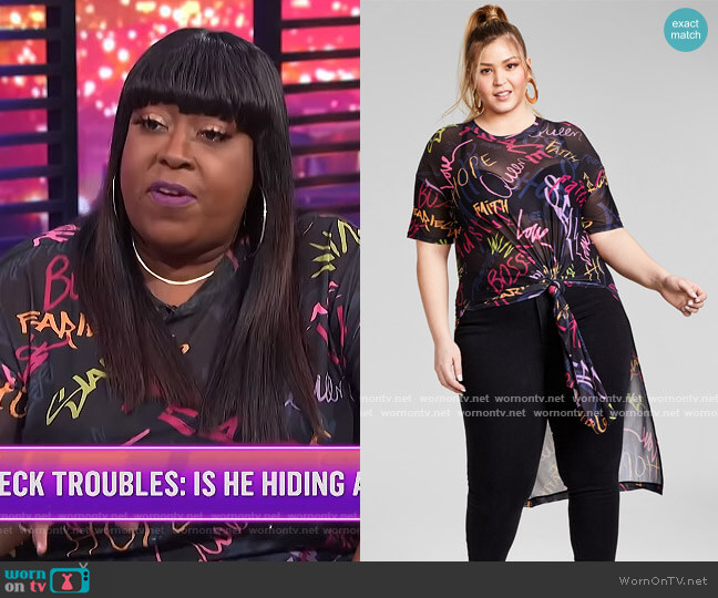 Trendy Plus Size Mesh Tunic by Nina Parker worn by Loni Love on E! News Nightly Pop