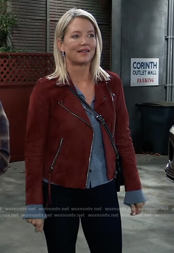 Nina's blue button down sweater and suede jacket on General Hospital