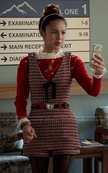 Nini's red heart print sweater and tweed romper on High School Musical The Musical The Series