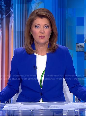 Norah's blue blazer and floral dress on CBS Evening News