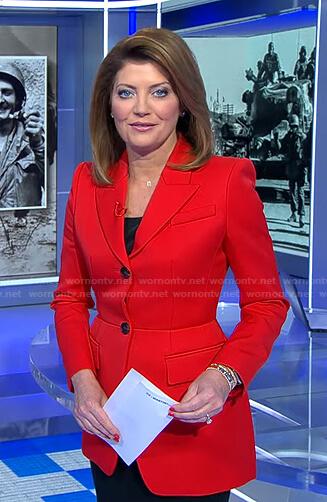 Norah's red peplum blazer on CBS Evening News