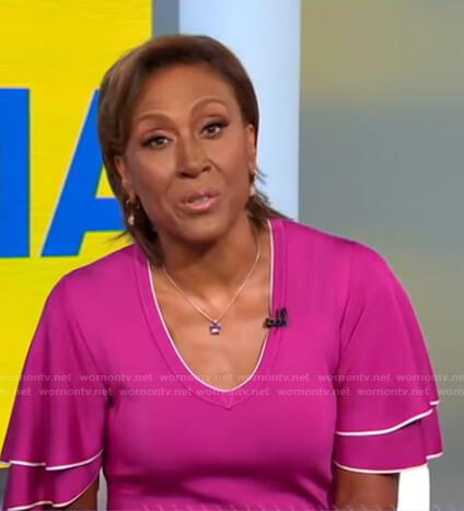 Robin's pink frilled short sleeve dress on Good Morning America