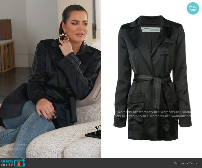Longline Satin Blazer by Off White worn by Khloe Kardashian  on Keeping Up with the Kardashians