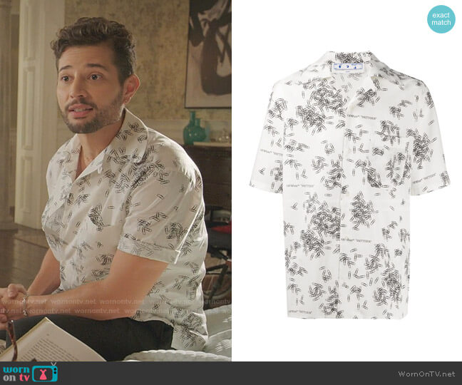 Paperclip-Print Shirt by Off-White worn by Sam Flores (Rafael de la Fuente) on Dynasty