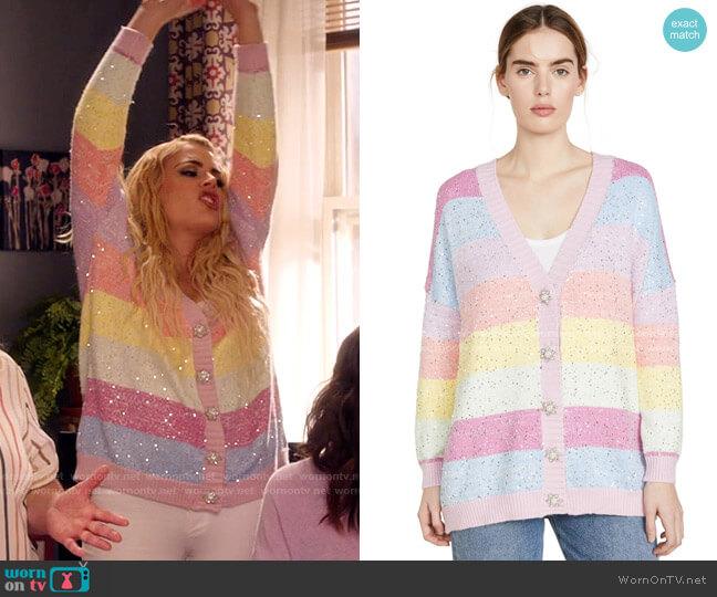 Olivia Rubin Mika Cardigan in Pastel Stripe worn by Summer Dutkowsky (Busy Philipps) on Girls5eva