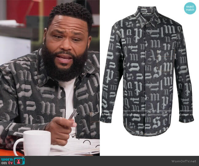 Logo-print Denim Shirt by Palm Angels worn by Andre Johnson (Anthony Anderson) on Blackish