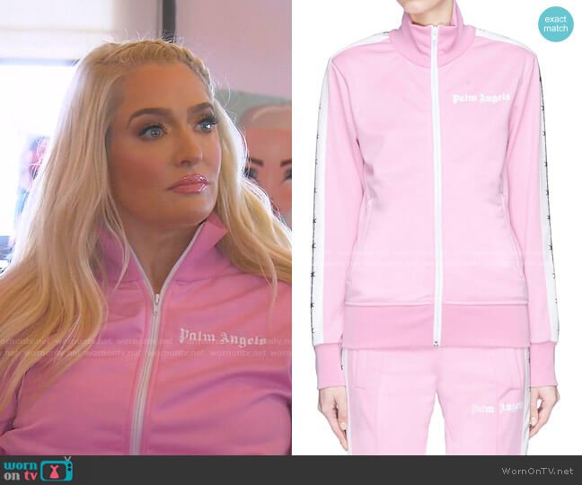 Barbwire Track Jacket by Palm Angels worn by Erika Jayne  on The Real Housewives of Beverly Hills