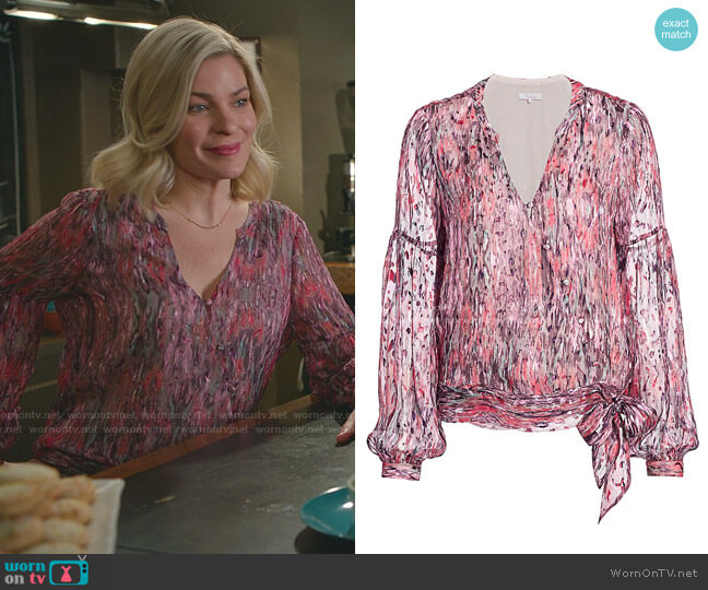 Niko Batik-Print Blouse by Parker worn by Stephanie Borden (Kylee Evans) on Good Witch