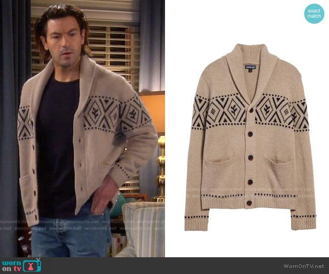 Patagonia Recycled Wool Shawl-Collar Cardigan worn by Ryan Vogelson (Jordan Masterson) on Last Man Standing