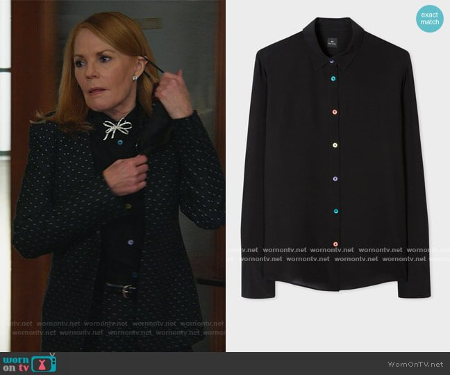 Black Silk Shirt With Multi-Colour Buttons by Paul Smith worn by Lisa Benner (Marg Helgenberger) on All Rise