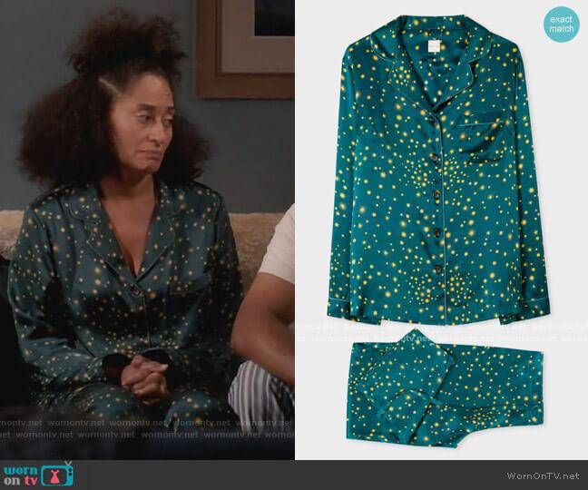 Teal Stars Print Silk Pyjama Set by Paul Smith worn by Rainbow Johnson (Tracee Ellis Ross) on Blackish