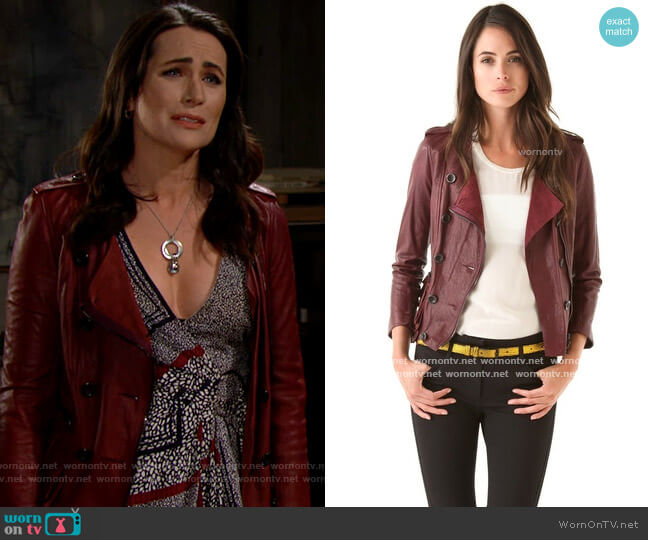 3.1 Phillip Lim Ruffle Leather Jacket in Berry  worn by Quinn Fuller (Rena Sofer) on The Bold & the Beautiful