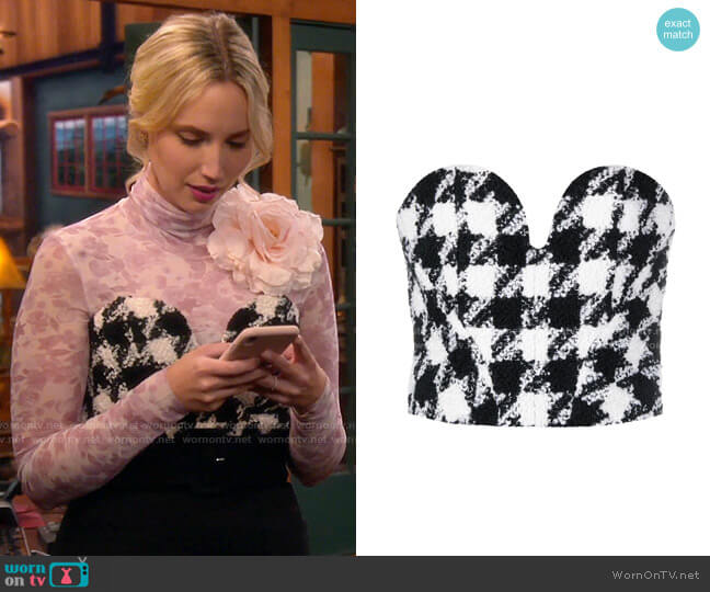 Philosophy Di Lorenzo Serafini Houndstooth Bustier worn by Mandy Baxter (Molly McCook) on Last Man Standing