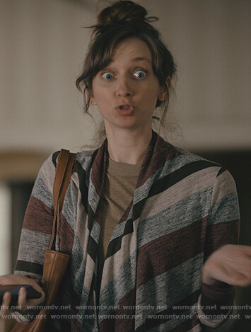 Phoebe's stripe drape cardigan on Good Girls