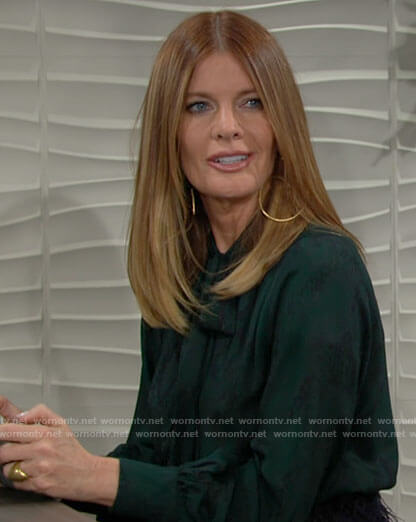Phyllis's green snake print blouse on The Young and the Restless