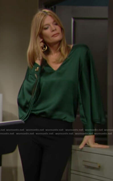 Phyllis's green v-neck blouse on The Young and the Restless