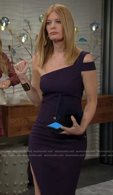 Phyllis's navy one-shoulder dress on The Young and the Restless