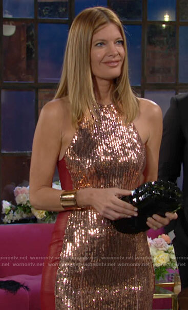 Phyllis's sequin and red leather dress on The Young and the Restless